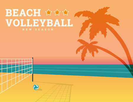 pelota de voleibol: Voleibol ilustraci�n de temporada con puesta de sol brillante y red de deporte en la playa. Texto esboz�. Fuente RobotoSlab gratuito