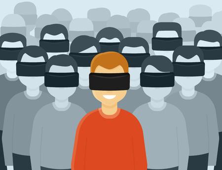 시뮬레이션: 가상 현실 헬멧을 착용하는 많은 사람들. 미래 세대의 개념 설명 일러스트