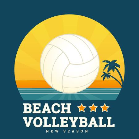 voleibol: Voleibol de playa tarjeta estacional con puesta de sol brillante y la pelota en el centro. Texto esbozó. Fuente RobotoSlab gratuito