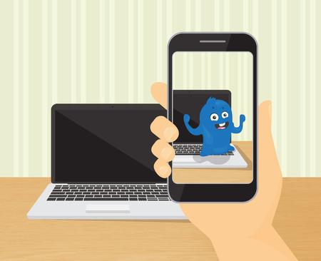 人間の手は、拡張現実感のアプリケーションで面白いモンスターと spmartphone を保持しています。  イラスト・ベクター素材