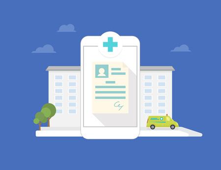 Conceptual illustration of hospital mobile application for smartphone Illustration