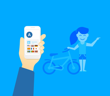 translator: Human hand holds smartphone with translator mobile application