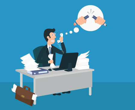talking phone: Stressed businessman is talking on the phone with an angry boss