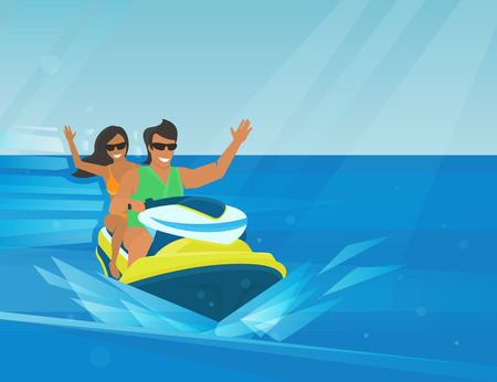 Smiling couple rides extreme watercraft in the bright seaside