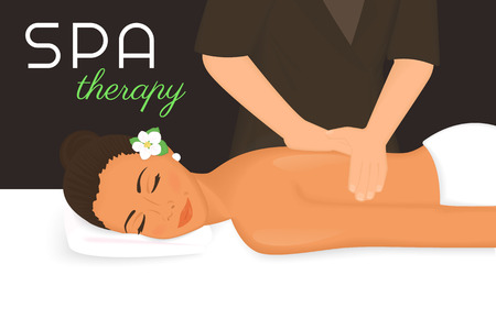soothing: Spa therapy illustration of woman getting a massage on her back