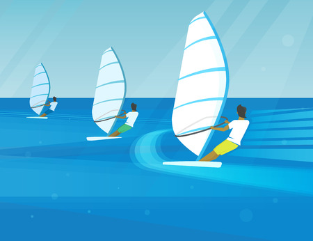 sail board: Windsurfing competition of three young guys in the bright seaside