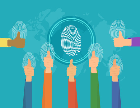 identity protection: Human hands around the world with fingerprints