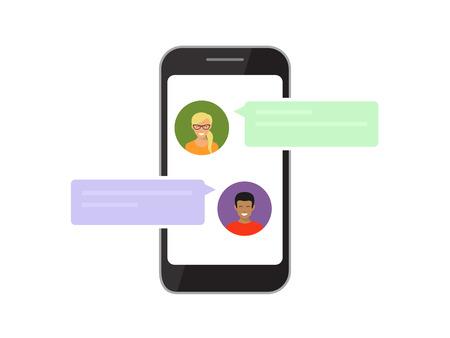 スマート フォンに表示されるモバイル チャットを介して通信で 2 人の友人。白で隔離