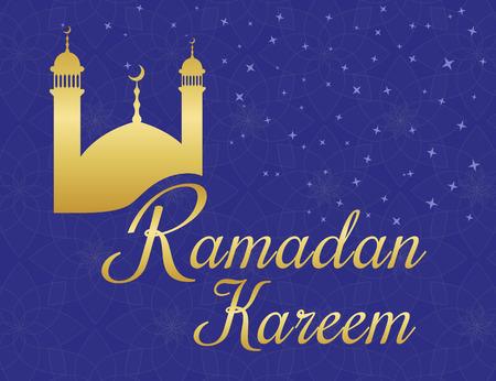 violet background: Ramadan Kareem saluti poster con la moschea d'oro su sfondo viola con ornamenti