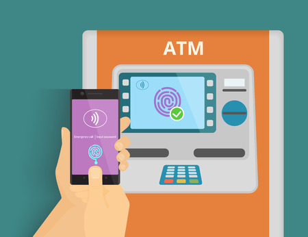 Illustration of mobile access to ATM via smartphone using fingerprint identification.
