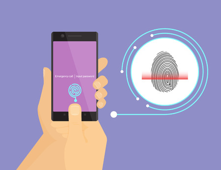 Illustration of digital fingerprint identification on smartphone. Vectores