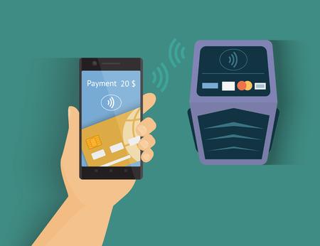 e banking: Modern illustration of mobile payment by credit card via smartphone. Illustration
