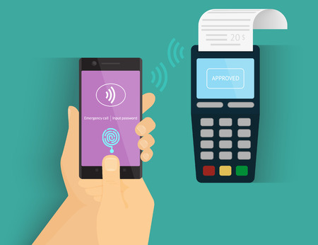 e money: Illustration of mobile payment via smartphone using fingerprint identification. Illustration