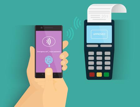 via: Illustration of mobile payment via smartphone using fingerprint identification. Illustration