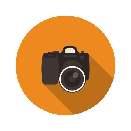slr: Slr optical camera camera round icon with long shadow isolated on white Illustration