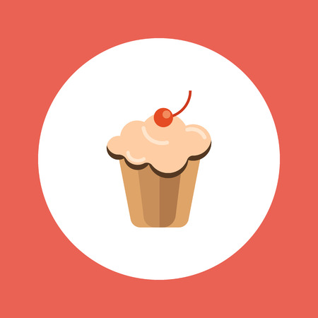 sugar cookies: Delicious cake with cream and cherry. Flat icon isolated on white Illustration