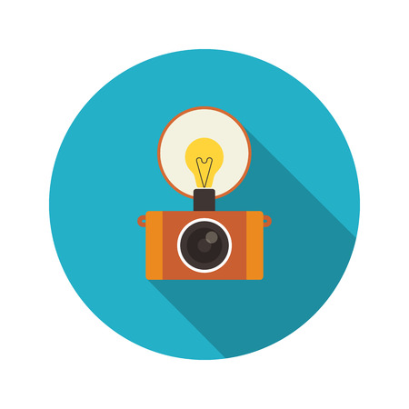 'catch the moment': Retro flash camera round icon with long shadow isolated on white