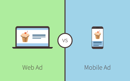 mobile advertising: Comparing of advertising between web and mobile application Illustration