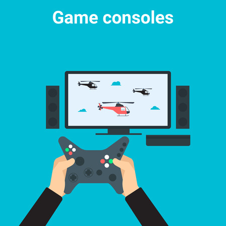 controller: Young man is playing videogame on tv gamepad Illustration