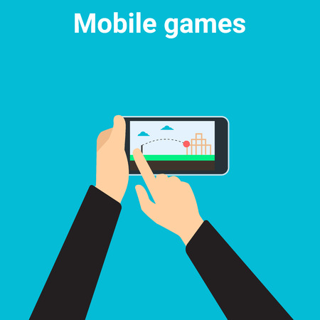 mobile app: Young man is playing videogame on mobile phone app Illustration