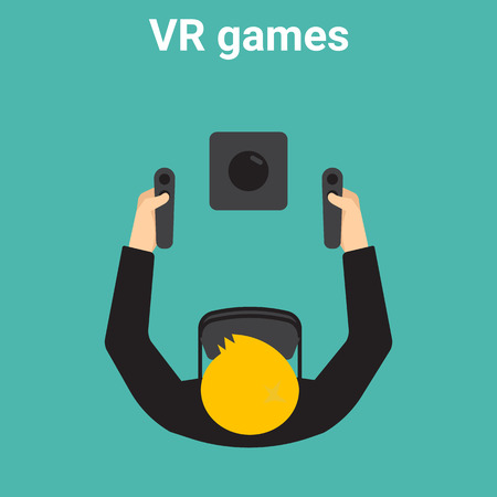 reality: Young man is playing in virtual reality Illustration