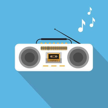 ghetto: Retro ghetto blaster con cassete audio su sfondo blu Vettoriali