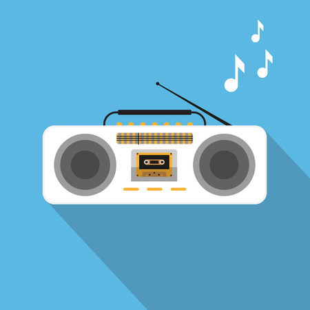stereo cut: Retro ghetto blaster with audio cassete on blue background