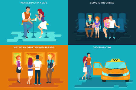 Students friendships flat concept icons set of lunch in the cafe, watching a movie in the cinema, visiting an exhibition and ordering taxi Vector