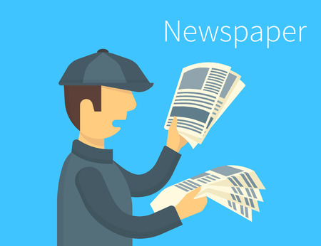 reading newspaper: Newsboy is selling a daily newspaper. Flat illustration Illustration