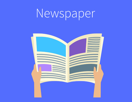 daily newspaper: Human hands hold a daily newspaper. Flat illustration on blue