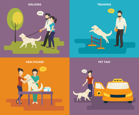 caminando: Familia con iconos planos conceptuales mascota conjunto de caminar en el parque, pasando examen médico, entrenamiento de la mascota y el taxi