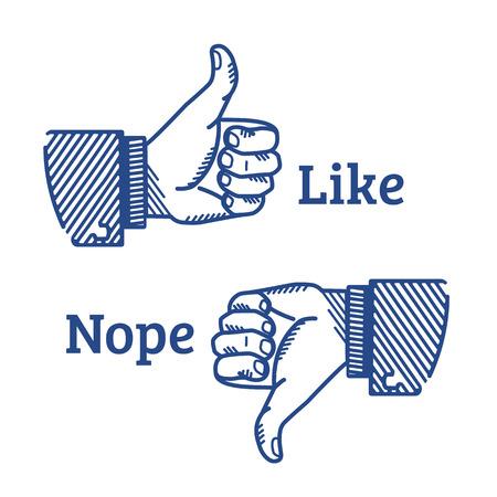 dedo: Conjunto de dos manos con los dedos pulgar hacia arriba y abajo ilustrados en estilo retro Vectores