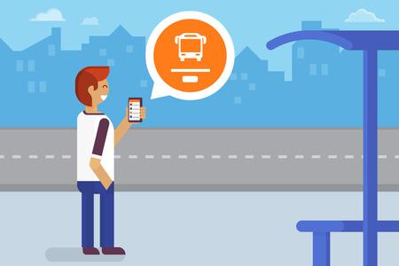 Jonge man verblijft op de bushalte en het gebruik van mobiele app voor het bijhouden van het verkeer Stock Illustratie