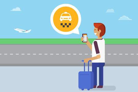Hombre joven que permanece en la rad autobús y el uso de aplicaciones móviles para pedir un taxi