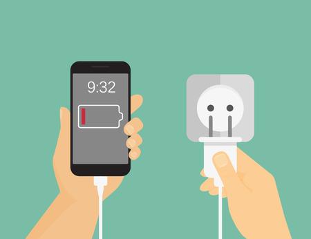cable telefono: La mano del hombre sostienen el teléfono móvil y hacer el proceso de carga. Ilustración plana Vectores