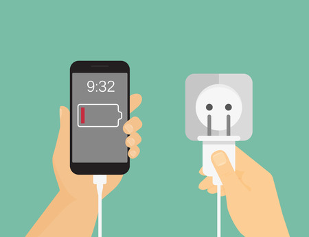 Human hand hold mobile phone and doing charging process. Flat illustration