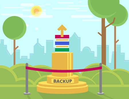data backup: Data backup monument in the park. Text outlined Illustration