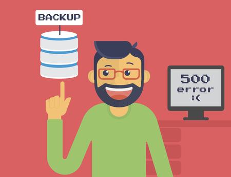 remote server: Happy programmer has got server backup after system crash. Text outlined
