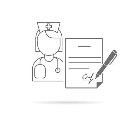 first form: Medical insurance contract with signature. Contour icon isolated on white Illustration