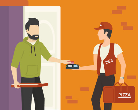 Payment by credit card for pizza delivered to home Stock Illustratie