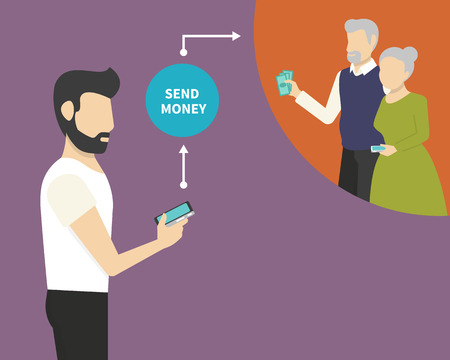 cellphone in hand: Man is sending money to his parents via mobile phone Illustration