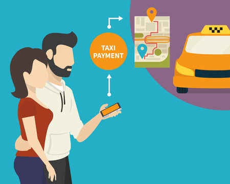 ordering: Couple is ordering and paying for taxi via mobile app