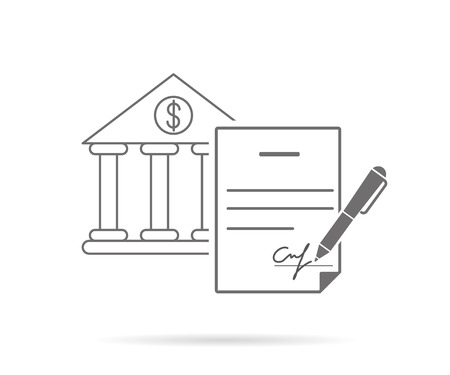 extortion: Bank credit contract with signature. Contour icon isolated on white