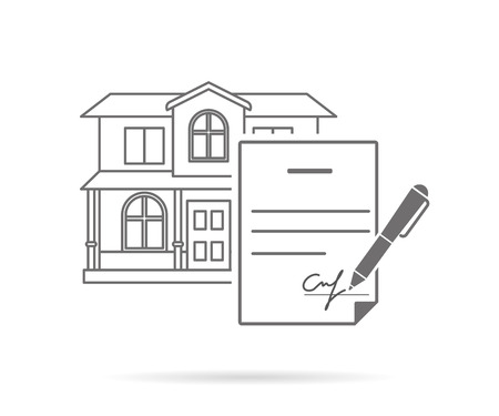 home finances: Real estate purchasing contract with signature. Contour icon isolated on white