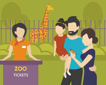 zoologico: Familia con niños va al zoológico utilizando un billete electrónico en aplicaciones móviles