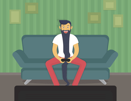 Happy gamer sitting at home and playing video games over time Illustration