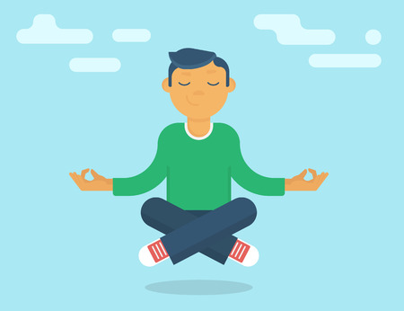 meditate: Calm guy meditating in the sky. Flat modern style Illustration