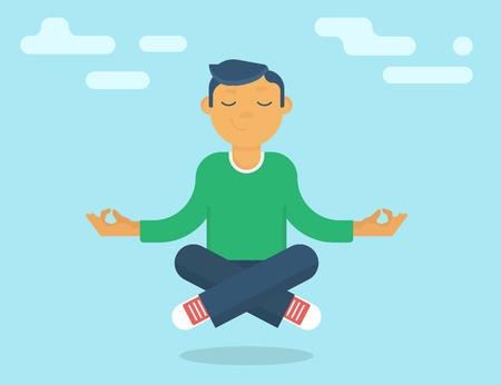 Calm guy meditating in the sky. Flat modern style Illustration