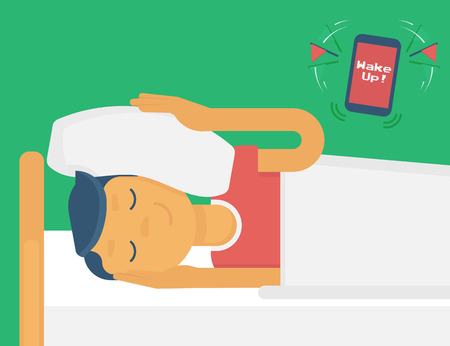 late: Lazy guy sleeping when the alarm rings. Flat illustration