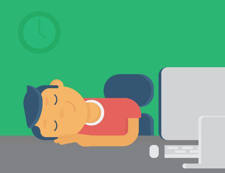 Lazy guy sleeping at workplace. Flat illustration